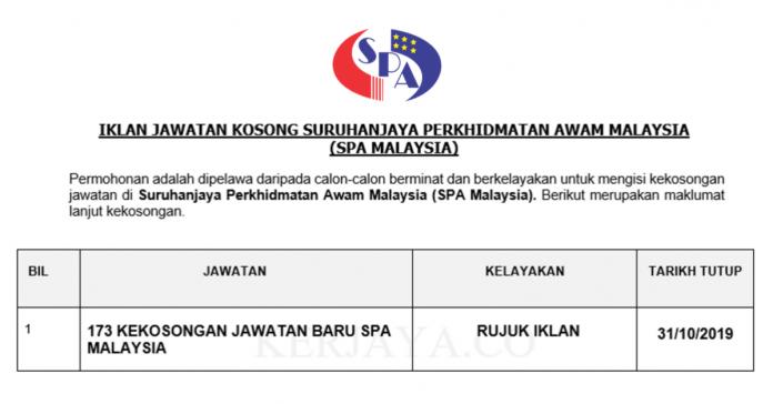 173 Kekosongan Jawatan Baru Suruhanjaya Perkhidmatan Awam Malaysia (SPA Malaysia)