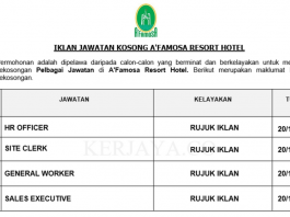 A'Famosa Resort Hotel ~ HR Officer, Front Office Assistant, Site Clerk & Pelbagai Jawatan Lain