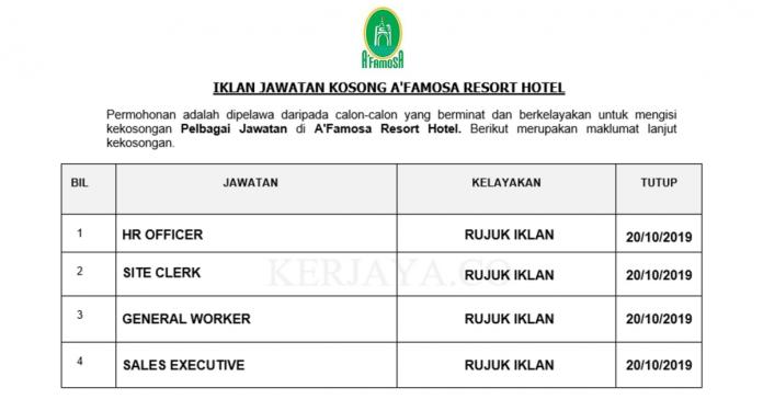 A'Famosa Resort Hotel ~ HR Officer, Front Office Assistant, Site Clerk & Pelbagai Jawatan Lain