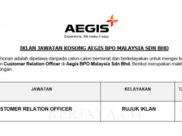 Aegis BPO Malaysia ~ Customer Relation Officer