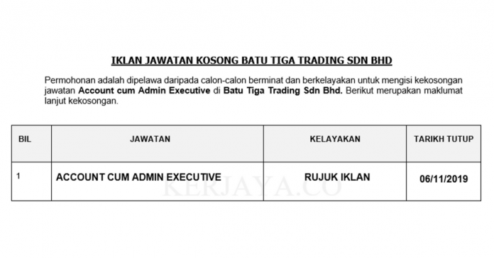 Batu Tiga Trading ~ Account cum Admin Executive