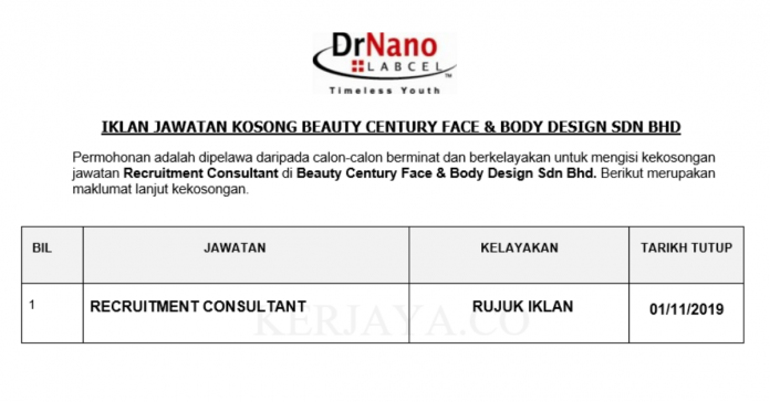 Beauty Century Face & Body Design ~ Recruitment Consultant