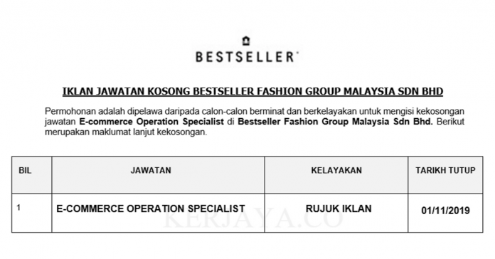 Bestseller Fashion Group Malaysia ~ E-commerce Operation Specialist
