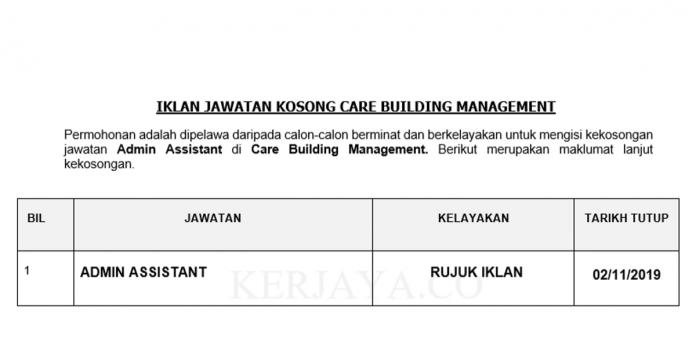 Care Building Management ~ Admin Assistant