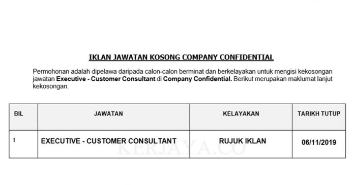 Company Confidential ~ Executive - Customer Consultant