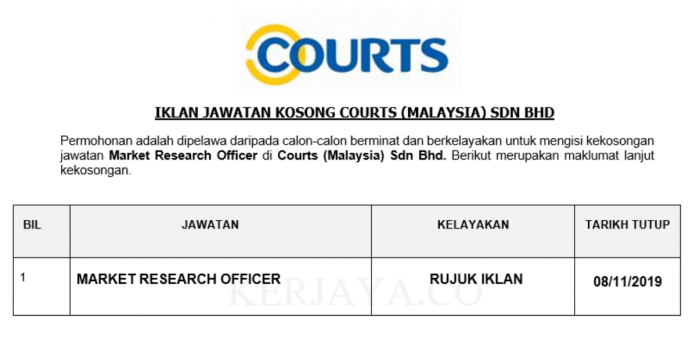 Courts ~ Market Research Assistant
