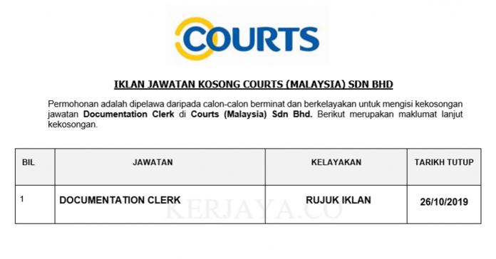 Courts (Malaysia) ~ Documentation Clerk