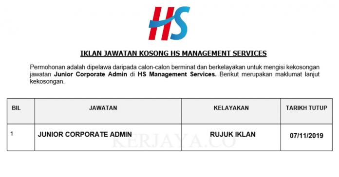 HS Management Services ~ Junior Corporate Admin