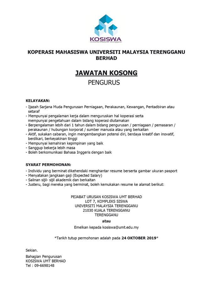 Iklan Jawatan Kosong Koperasi Mahasiswa Universiti Malaysia Terengganu Kerja Kosong Kerajaan