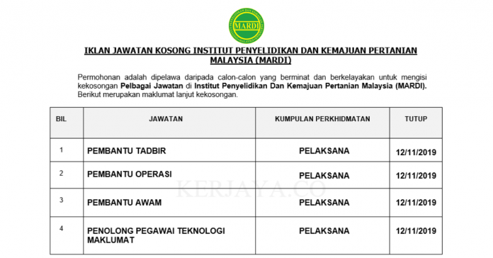Institut Penyelidikan Dan Kemajuan Pertanian Malaysia (MARDI) ~ Pembantu Tadbir, Pembantu Operasi, Pembantu Awam & Pelbagai Jawatan Lain