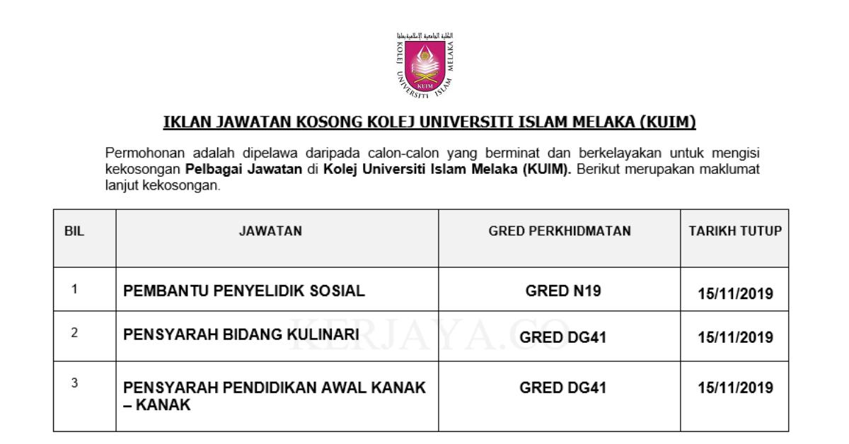 Jawatan Kosong Terkini Kolej Universiti Islam Melaka Kuim Pembantu Penyelidik Sosial Penyarah Kulinari Pensyarah Pendidikan Awal Knak Kanak Kerja Kosong Kerajaan Swasta