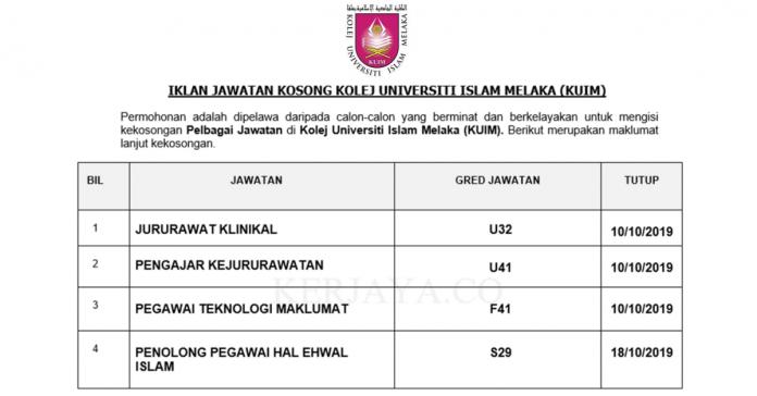 Kolej Universiti Islam Melaka (KUIM) ~ Jururawat, Jururawat Teknikal, Pegawai Teknologi Maklumat & Pen. Peg Teknologi Maklumat