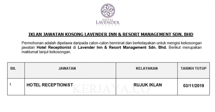 Lavender Inn & Resort Management ~ Hotel Receptionist