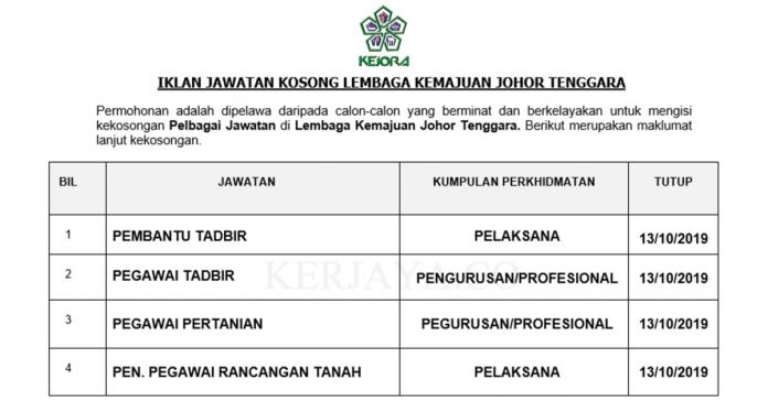 Lembaga Kemajuan Johor Tenggara ~ Pembantu Tadbir, Pegawai Pertanian, Pen.Pegawai Rancangan Tanah & Pelbagai Jawatan
