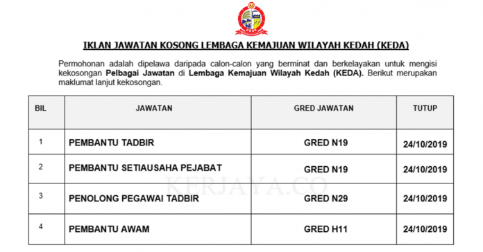 Lembaga Kemajuan Wilayah Kedah (KEDA) ~ Pembantu Tadbir, Pembantu Awam, Penolong Pegawai Tadbir & Pelbagai Jawatan Lain