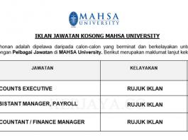 MAHSA University ~ Accountant, Accounts Executive & Assistant Manager, Payroll