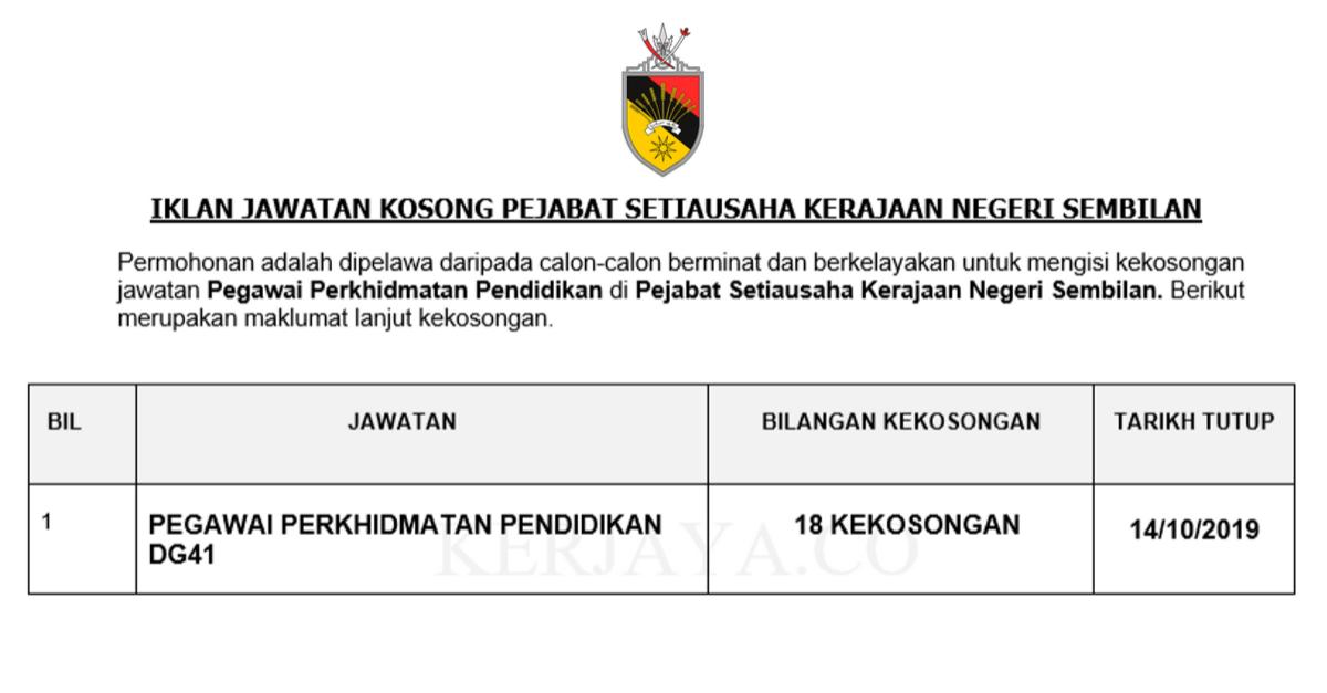 Jawatan Kosong Terkini Pejabat Setiausaha Kerajaan Negeri Sembilan Pegawai Perkhidmatan Pendidikan Kerja Kosong Kerajaan Swasta