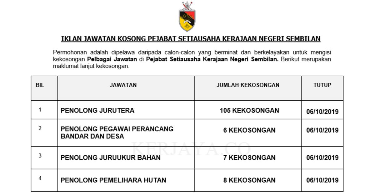 Jawatan Kosong Terkini Pejabat Setiausaha Kerajaan Negeri Sembilan 126 Kekosongan Jawatan Baru Kerja Kosong Kerajaan Swasta