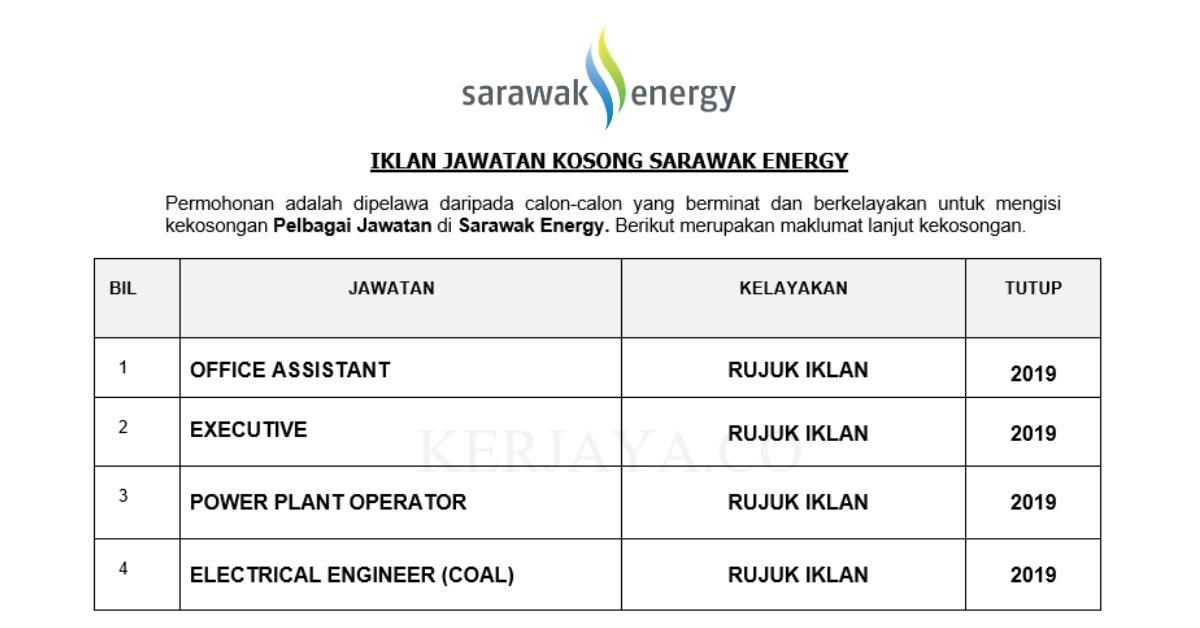 Jawatan Kosong Terkini Sarawak Energy Office Assistant Executive Power Plant Operator Pelbagai Jawatan Kerja Kosong Kerajaan Swasta