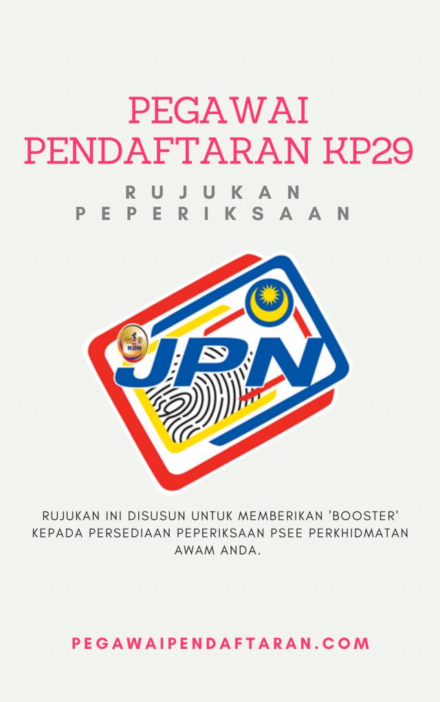 Soalan Peperiksaan Penolong Pegawai Pendaftaran KP29