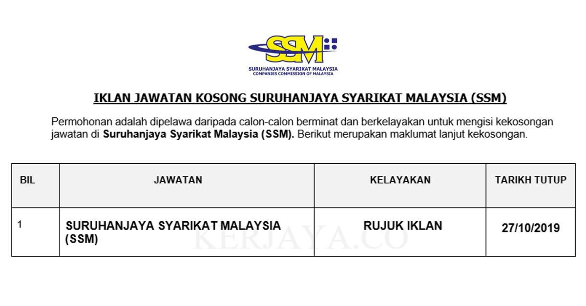 Jawatan Kosong Terkini Suruhanjaya Syarikat Malaysia Ssm Kerja Kosong Kerajaan Swasta