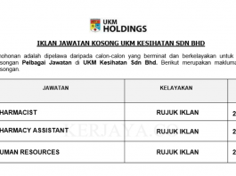 UKM Kesihatan ~ Pharmacist, Pharmacist Assistant & Human Resources