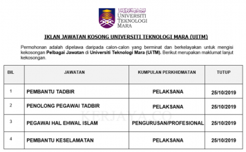 Universiti Teknologi Mara (UiTM) ~ Pembantu Tadbir, Pen.Peg Tadbir, Pegawai Hal Ehwal Islam & Pelbagai Jawatan