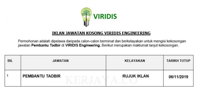 VIRIDIS Engineering ~ Pembantu Tadbir