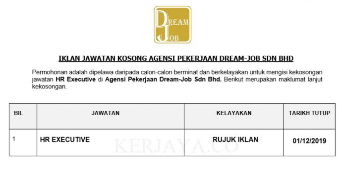 Agensi Pekerjaan Dream-Job ~ HR Executive
