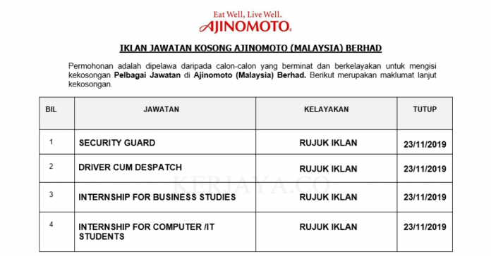 Ajinomoto (Malaysia) Berhad ~ Internship For Business Studies / IT Students, Despatch & Security Guard