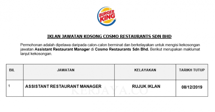 Cosmo Restaurants ~ Assistant Restaurant Manager