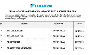 Daikin Malaysia Sales & Service ~ Receptionist, Sales Executive, Sales Engineer & Pelbagai Jawatan Lain