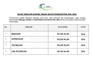 Indah Water Konsortium ~ Supervisor, Manager, Technician & Pelbagai Jawatan Lain
