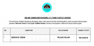 Le Cyan Coffee House ~ Service Crew