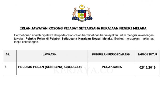 Pejabat Setiausaha Kerajaan Negeri Melaka ~ Pelukis Pelan Gred JA19