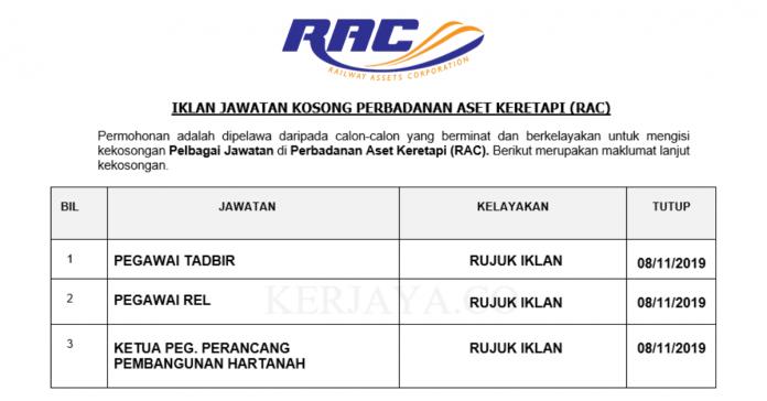 Perbadanan Aset Keretapi (RAC) ~ Pegawai Tadbir, Pegawai Rel &Ketua Pegawai Perancangan Pembangunan Hartanah