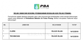 Perbadanan Bekalan Air Pulau Pinang ~ Kerani & Juru Teknik