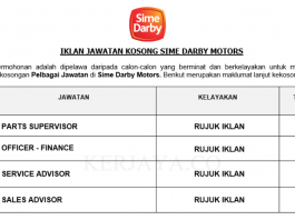 Sime Darby Motors ~ Parts Supervisor, Officer - Finance, Motors Division & Pelbagai Jawatan