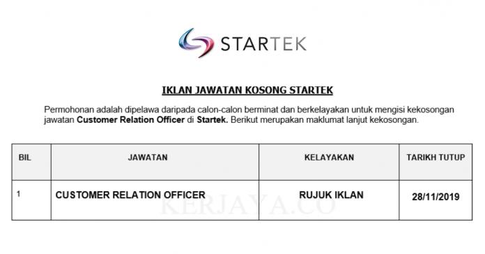 Startek ~ Customer Relation Officer