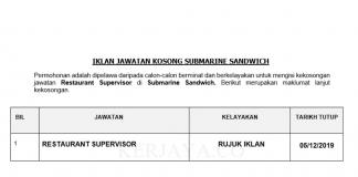 Submarine Sandwich ~ Restaurant Supervisor