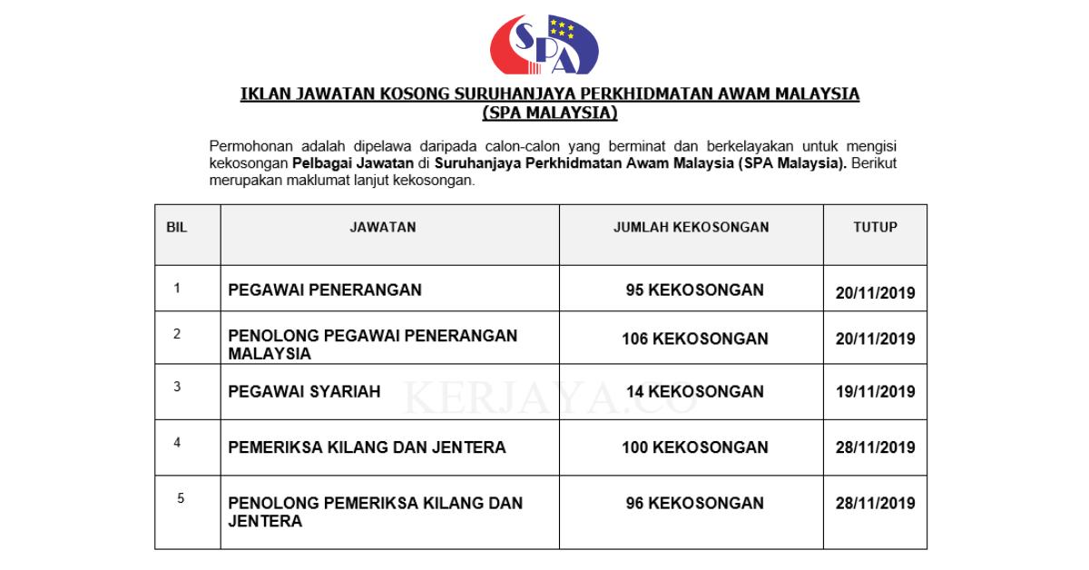 411 Kekosongan Jawatan Baru Suruhanjaya Perkhidmatan Awam Malaysia Spa Malaysia