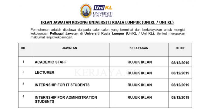 Universiti Kuala Lumpur (UNIKL) ~ Administration Students/ IT Students, Lecturer, Academic Staff & Pelbagai Jawatan Lain