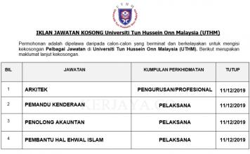 Universiti Tun Hussein Onn Malaysia (UTHM) ~ Pembantu Hal Ehwal Islam, Arkitek & Pelbagai Jawatan Lain