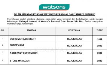 Temuduga Terbuka Watson's Personal Care Stores ~ Customer Service Assistant, Supervisor, Assistant Supervisor & Pelbagai Jawatan Lain