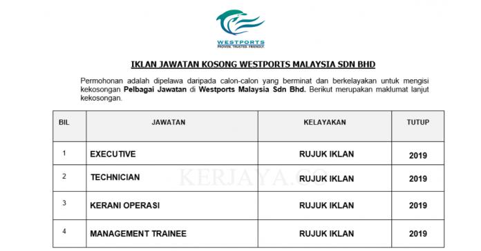 Westports Malaysia ~ Kerani, Eksekutif , Pelatih Pengurusan & Pelbagai Jawatan Lain