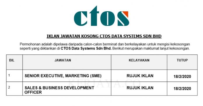 CTOS Data Systems ~ Senior Executive, Marketing & Sales & Business Development Officer