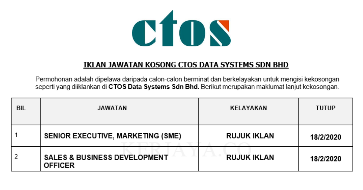 CTOS Data Systems ~ Senior Executive, Marketing & Sales & Business Development Officer