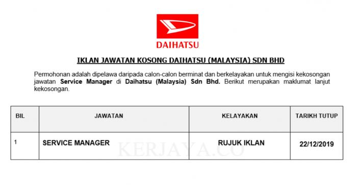 Daihatsu Malaysia ~ Service Manager