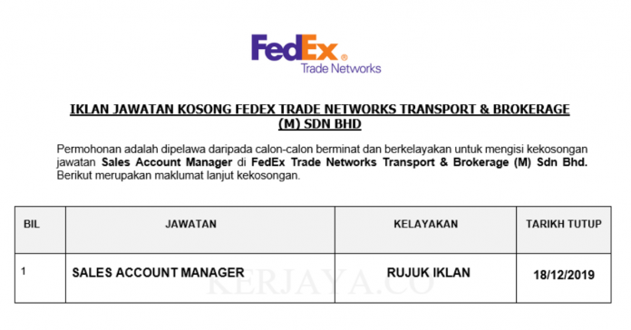 FedEx Trade Networks ~ Sales Account Manager