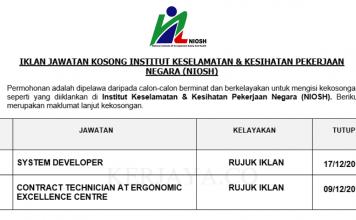 Institut Keselamatan & Kesihatan Pekerjaan Negara (NIOSH) ~ System Developer & Contract Technician at Ergonomic Excellence Centre